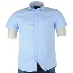Short Sleeved Blue Seersucker Shirt