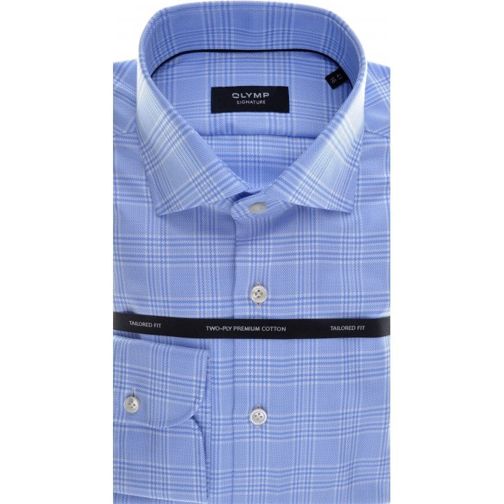 SIGNATURE Cotton Tailored Shirt by Olymp in Blue Prince of Wales Check