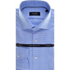 Cotton Tailored Shirt by Olymp in Blue Prince of Wales Check