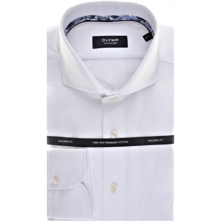 SIGNATURE Cotton Tailored Shirt by Olymp in White Satin pattern