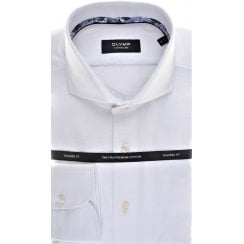 Cotton Tailored Shirt by Olymp in White Satin pattern