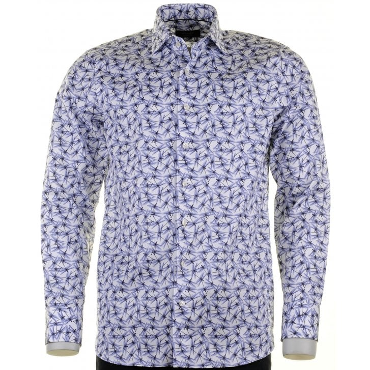 SIGNATURE Cotton Tailored Shirt in Dragonfly Pattern