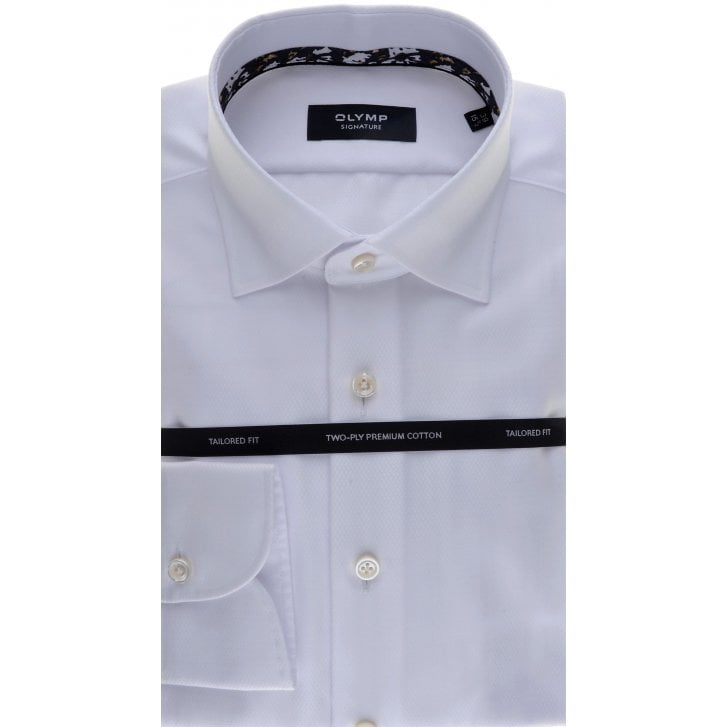 SIGNATURE Cotton Tailored Shirt in White Button Under collar