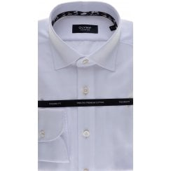 Cotton Tailored Shirt in White Button Under collar