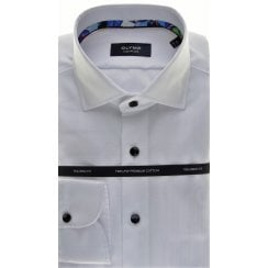 Cotton Tailored Shirt in White or Blue Satin pattern