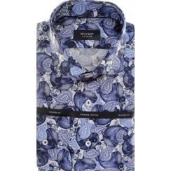 Navy Blue Cotton Tailored Shirt with Whales