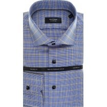 Tailored Cotton Shirt by Olymp in Blue Houndstooth with Overcheck