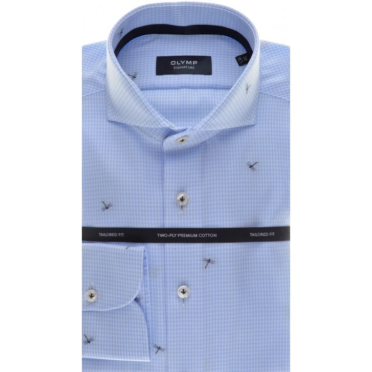 SIGNATURE Tailored Cotton Shirt in Blue Micro Check and Dragonflies