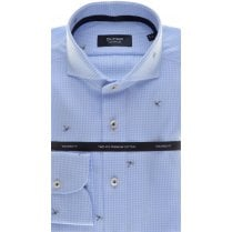 Tailored Cotton Shirt in Blue Micro Check and Dragonflies
