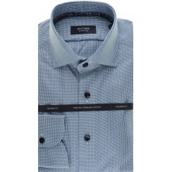 Tailored Cotton Shirt in Green and Navy Houndstooth Pattern