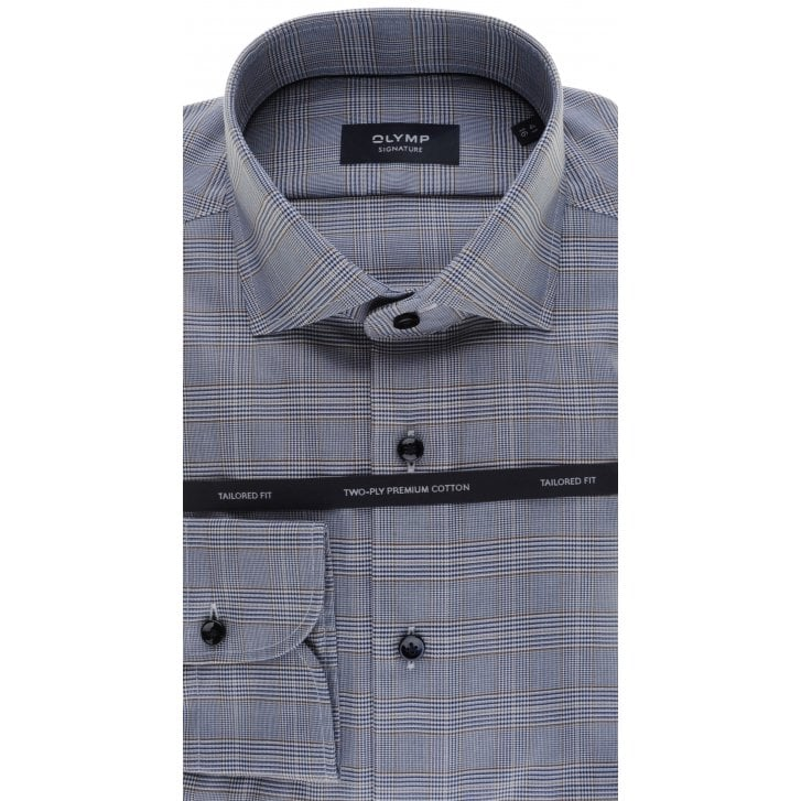 SIGNATURE Tailored Cotton Shirt in Navy and Tan Check