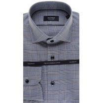 Tailored Cotton Shirt in Navy and Tan Check