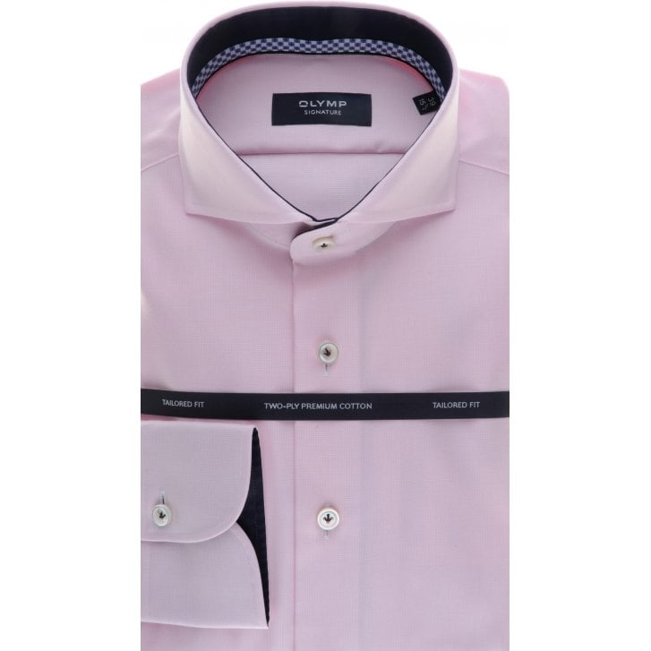 SIGNATURE Tailored Cotton Shirt with Trim in Pink Pin Dot