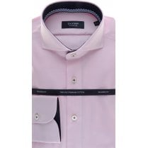 Tailored Cotton Shirt with Trim in Pink Pin Dot