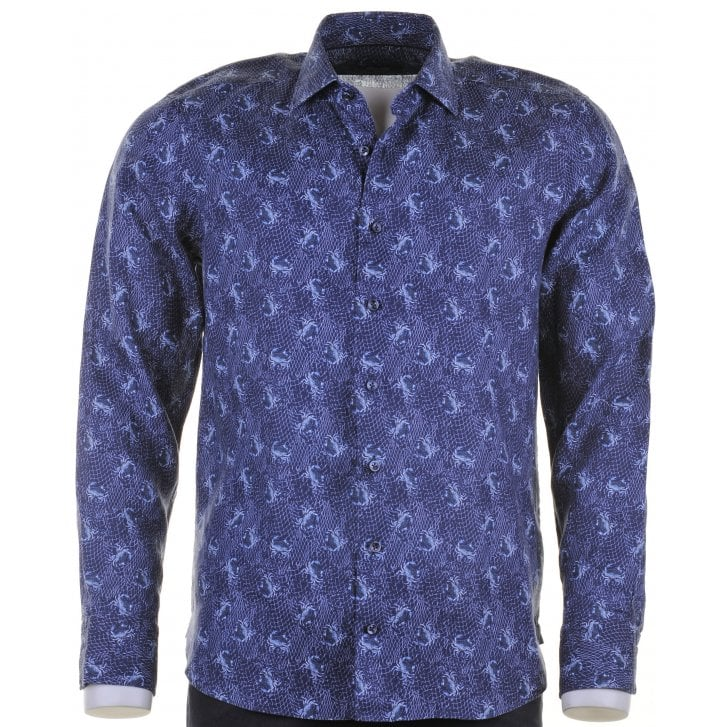 SIGNATURE Tailored Navy Linen Shirt with Crab Design
