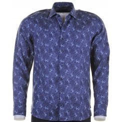 Tailored Navy Linen Shirt with Crab Design