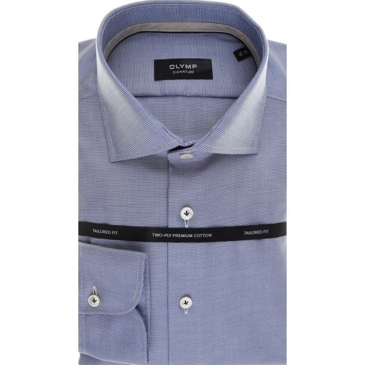 SIGNATURE Tailored Shirt by Olymp in Blue Cotton with Neat Pattern