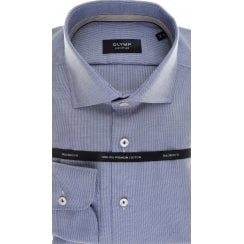 Tailored Shirt by Olymp in Blue Cotton with Neat Pattern