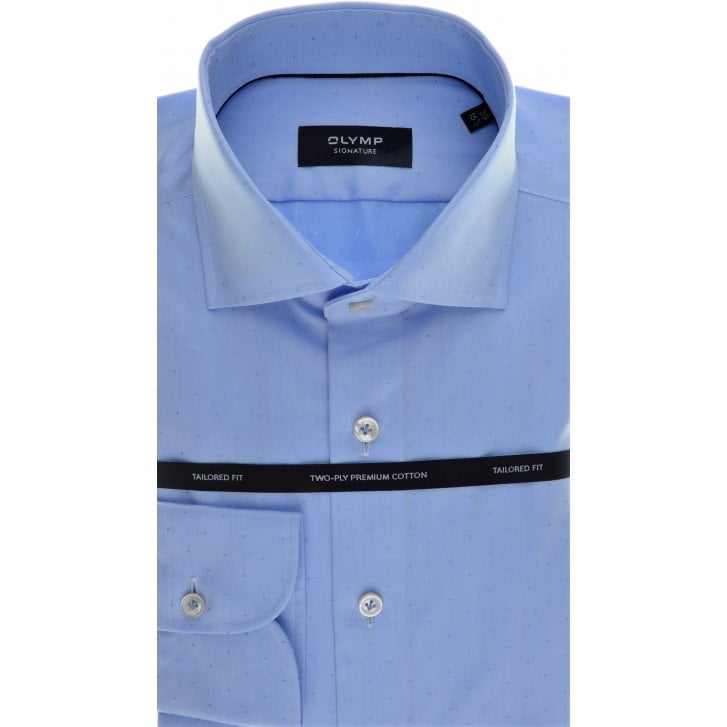SIGNATURE Tailored Shirt by Olymp in Blue Cotton with Neat Spot Design