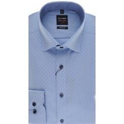 Slim Fit Blue Cotton Spotted Shirt