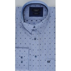 Spot and Stripe Combination Cotton Shirt