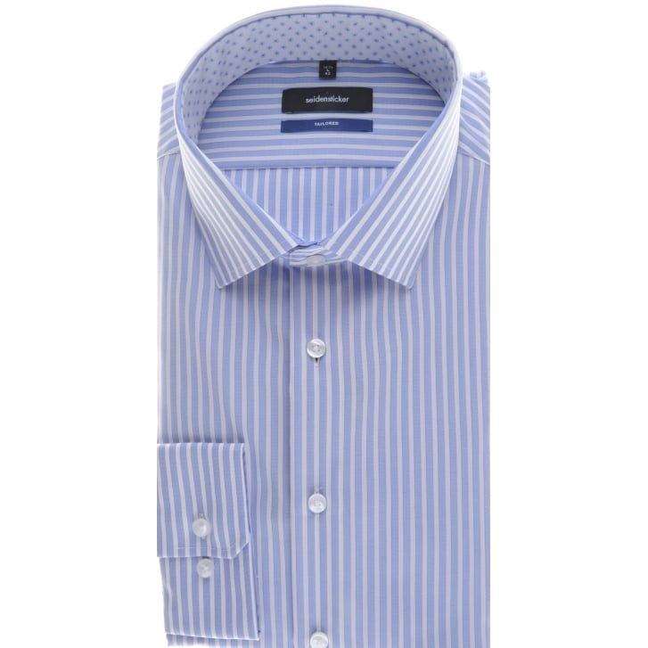 SEIDENSTICKER Tailored Blue Stripe Non Iron Cotton Shirt