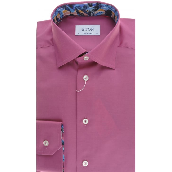 ETON Tailored Dark Pink or Blue Cotton Shirt with Trim