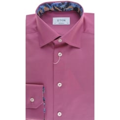 Tailored Dark Pink or Blue Cotton Shirt with Trim