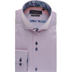 Tailored Fit Pink Cotton Shirt with Cutaway Collar