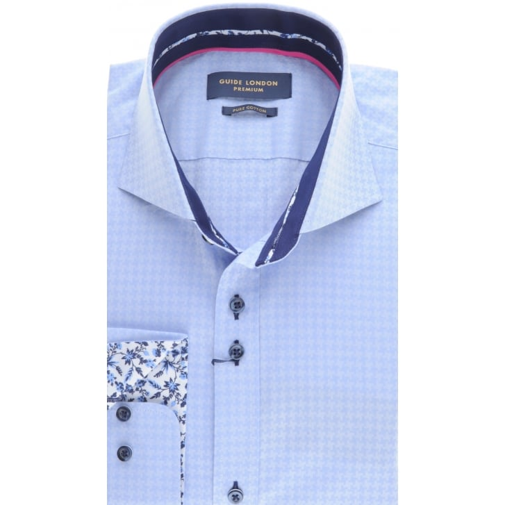 GUIDE Tailored fit Self Pattern Shirt wilth Cutaway collar