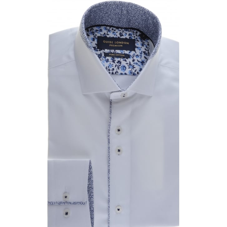 GUIDE Tailored fit White Trimmed Shirt with Two Button collar