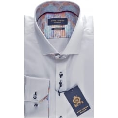 Tailored White Cotton Shirt with Cuttaway Collar