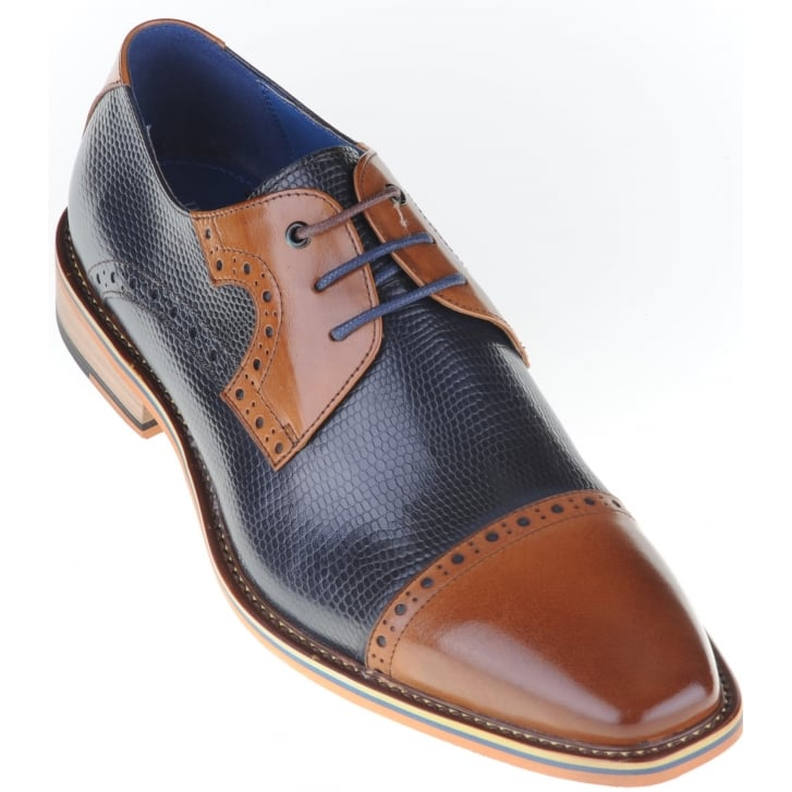 JUSTIN REECE Tan and Navy Shoe with Patterned Leather and Choice of Two Laces