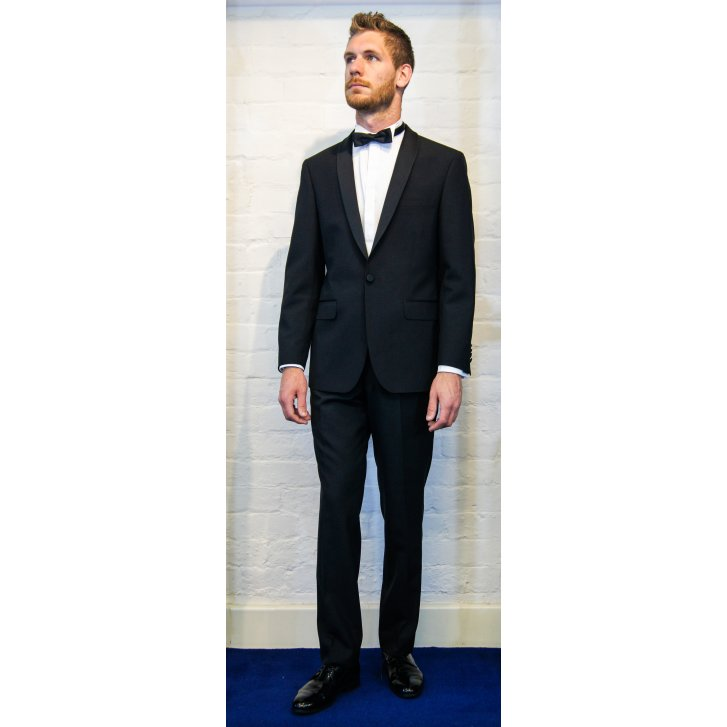 TORRE Black Dinner Suit Trousers in a Slim Fit with Satin Side Seam