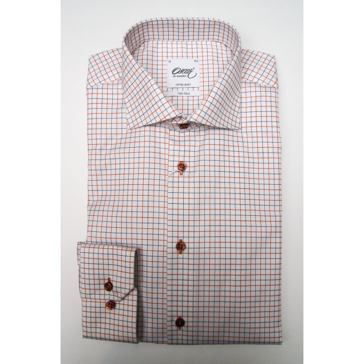 OSCAR Two Fold Cotton Check Tailored Shirt with Duo Cuff