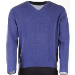 V Neck Wool Mix Jumper in Blue or Taupe