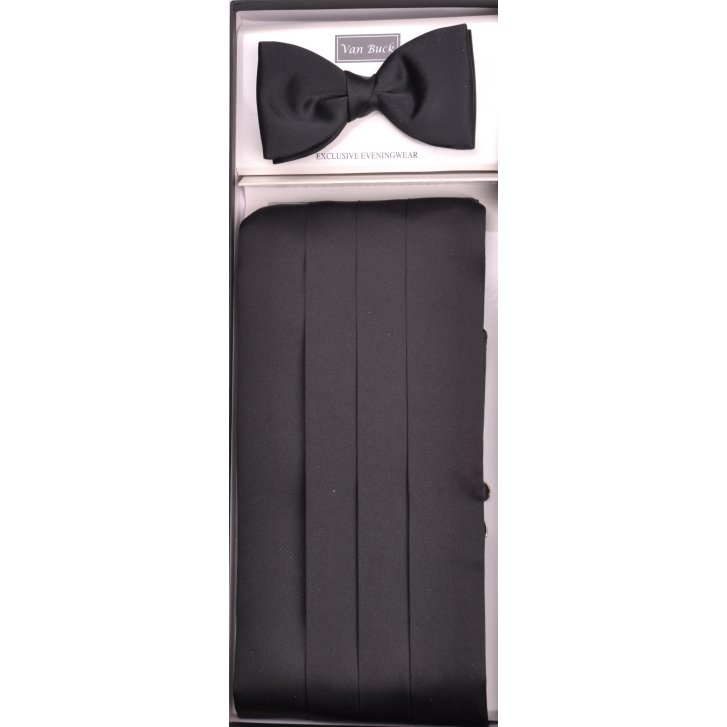 VAN BUCK Black Satin Cummerbund and Bow Tie Set