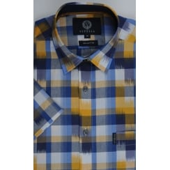 Short Sleeved Blue and Mustard Check Cotton Shirt