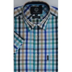 Short Sleeved Red or Green Check Cotton Shirt