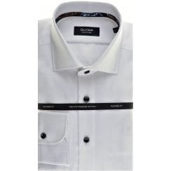 White Cotton Twill Tailored Shirt