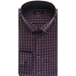 Wine Check Non Iron Cotton Shirt