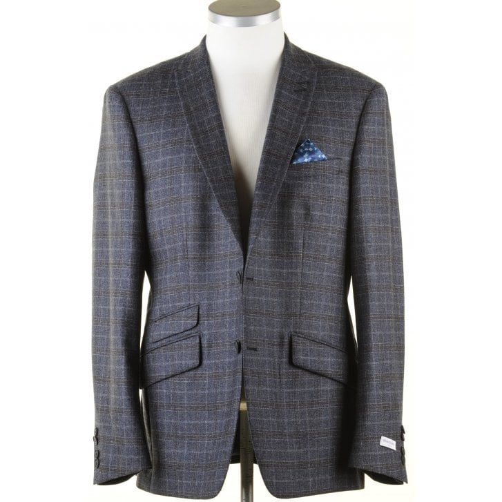 WITHOUT PREJUDICE Blue and Brown Tailored Check Jacket in a Reda Cloth