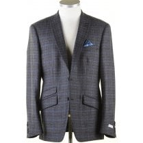 Blue and Brown Tailored Check Jacket in a Reda Cloth