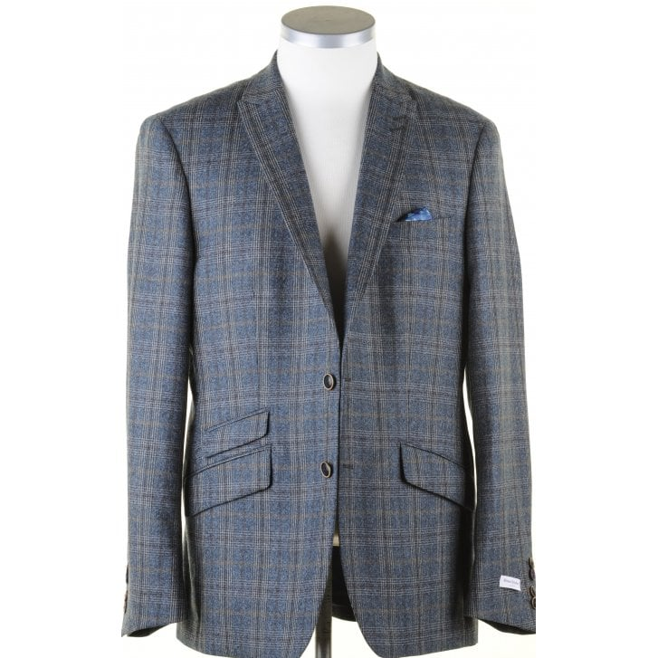 WITHOUT PREJUDICE Blue and Grey Tailored Prince of Wales Check Jacket