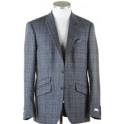 Blue and Grey Tailored Prince of Wales Check Jacket