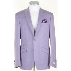 Blue or Lilac Linen/Cotton/Wool mix Tailored Jacket