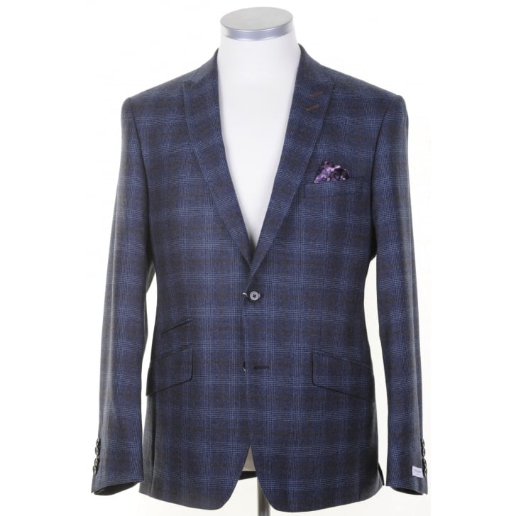 WITHOUT PREJUDICE Blue Tailored Prince of Wales Check Jacket