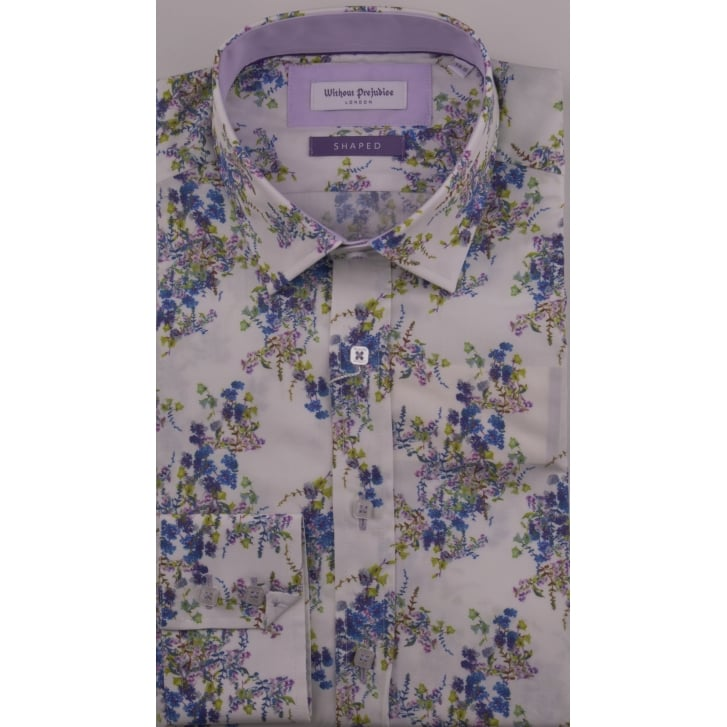 WITHOUT PREJUDICE Floral Tailored Cotton Shirt
