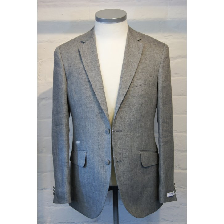 WITHOUT PREJUDICE Grey Single Breasted Herringbone Linen Tailored Jacket