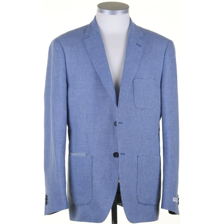 WITHOUT PREJUDICE Jacket Puppy ToothTailored Blue Linen and Cotton Buggy Lined Jacket